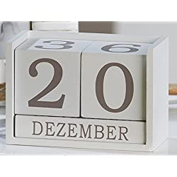 Casablanca - Calendario de mesa Tablero DM. Color blanco y gris. Altura: 9 cm.