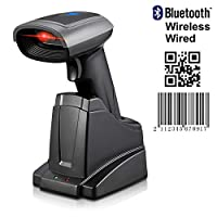 ‏‪2D Bluetooth Barcode Scanner MUNBYN Wired USB Bluetooth 4.0 Wireless (3 in1) 1D QR Barcode Reader with Smart Base for Android iOS Windows System Suitable for iPad iPhone Android Tablets PC Computer‬‏