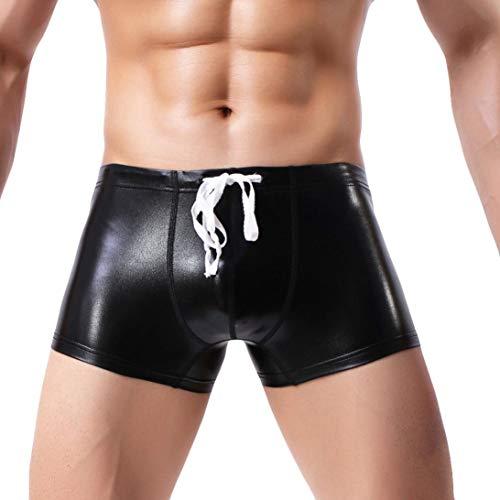 Innerternet Herren Boxershorts Unterwäsche Slip Sexy PU Leather Unterhosen Bequeme Männer Bulge Pouch Unterhosen Hipster Briefs Freizeit...