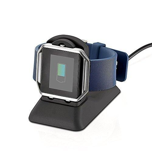 Kartice kompatibel Fitbit Blaze Ladegerät Ladeständer Standfuß Station Zubehör,Kartice Fitbit Blaze aufladendockstation Cradle-Halterung-Klipp-Lade Premium Plastikhalterung Ladekabel kompatibel Fitbit(Blaze-Schwarz)