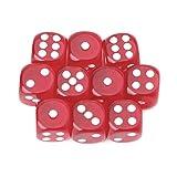 Lergo 10 Stück sechsseitige Würfel 15 mm transparent Cube Runde Ecken Tragbare Tischspiele, rot