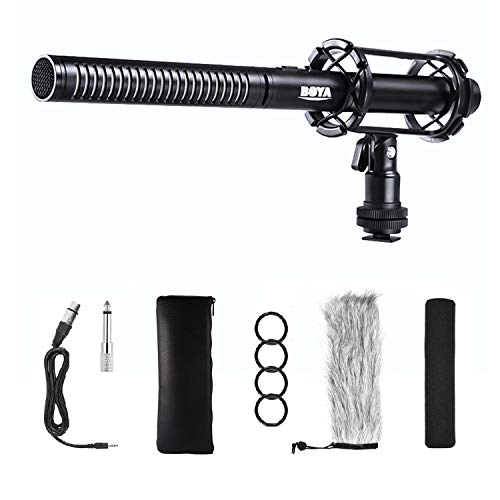BOYA BY-PVM1000 Pro Microfono Shotgun per interviste di qualità broadcast con parabrezza in schiuma e shock mount Uscita XLR a 3 pin per videocamere Canon Canon 6D Nikon D800 Panasonic
