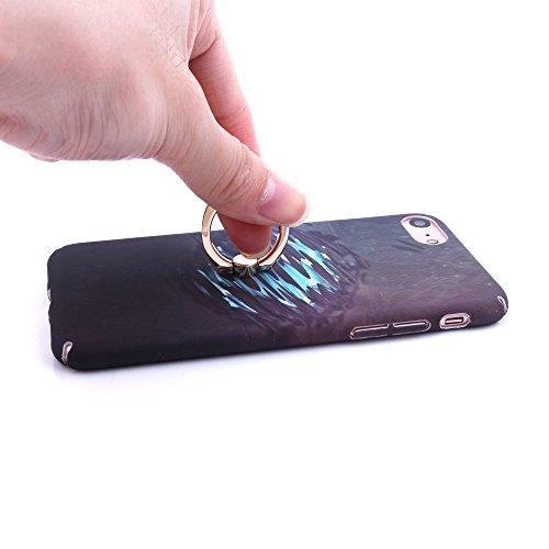 iProtect Hardcase mit Ring Blüten Schutzhülle in Transparent Schwarz mit Fingerhalterung für Apple iPhone 7, iPhone 8 Reflektion