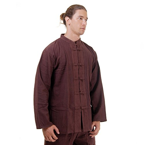 Kung Fu, Tai Chi & Meditations Shirt Jacke Baumwolle Größe M Braun