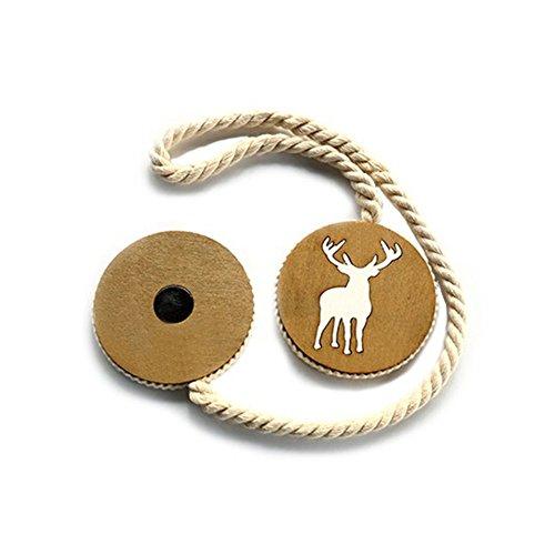 Ein Paar von Elk Magnet Holz Vorhang Raffhalter Mit Schnalle Baumwolle String/Magnet Elch Baumwolle Draht Handarbeit massiv Holz Vorhang Band (2St.) (Elch-magnet)
