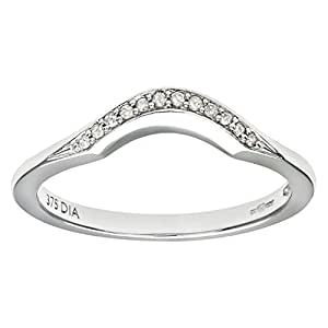 Naava Women's 9 ct White Gold Round Brilliant Cut Diamond Wishbone Eternity Ring, Size J