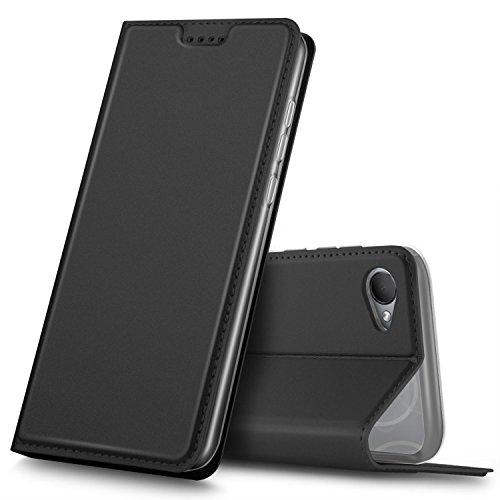 GeeMai HTC Desire 12 Hülle, Premium Flip Case Tasche Cover Hüllen mit Magnetverschluss [Standfunktion] Schutzhülle Handyhülle für HTC Desire 12 Smartphone, Schwarz