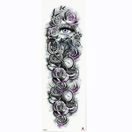Tatuaggio completo per tatuaggio con braccio a forma di fiore rosa e occhi tatuaggio temporaneo per tatuaggio con trasferimento di acqua a forma di corpo, confezione da 4,17×48cm