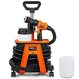 1200W Hvlp Paint Sprayer, Tacklife SGP17AC Spray Gun, 1100ml/min,  2 Detachable Containers and 4 Mobile Wheels. Ideal for Painting Automobile Parts, Electrical appliances, Steel Furniture, and Wood