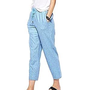 Fangcheng Frauen große Größe Elegante Schicke Stretch-Taillen-Leinen-Mischung Hose lässig Harem Kordelzug Baumwolle Leinen Beschnitten Hose
