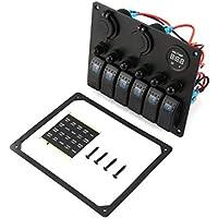 6 Gang Car Marine Boat Panel de interruptores LED Control de Interruptor basculante Impermeable con voltímetro Digital Cargador USB Dual