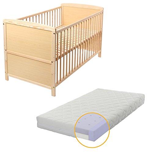 Baby- Kinder- und Jugend- Bett, Gitterbett, Kiefer teilmassiv, 140x70 cm, Babyblume TINA, Kiefer, inkl. Matratze DUO AIR