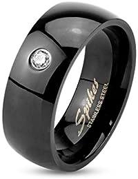 Anillo de compromiso para hombre y mujer, acero inoxidable de color negro, con circonita