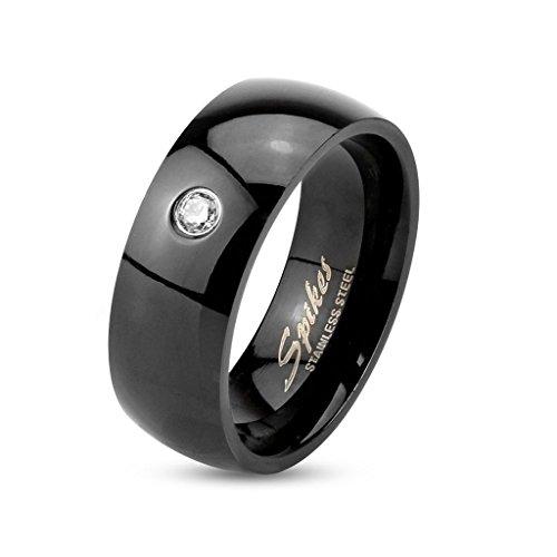 Fede di colore nero per uomo e donna in acciaio inossidabile – anello bambina e bambino di colore nero con pietra di zircone bianca – gioielli fantasy unisex uomo e donna- 8 misure a scelta