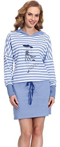 Merry Style Chemise de Nuit Femme MS10-104 Bleu/Bleu Sombre
