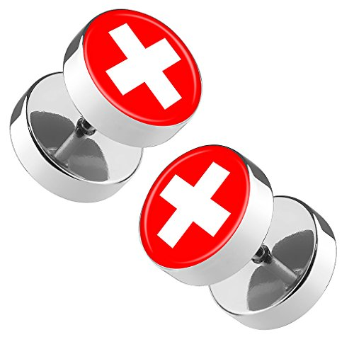Piersando Ohrringe Fake Ohr Plug Flesh Tunnel Piercing Ohrstecker Stecker Stab Runde Platte Fussball EM & WM Länderflagge Fanartikel Land Flagge Schweiz