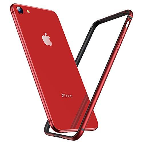 RANVOO Kompatibel mit iPhone 8 Hülle, iPhone 7 Hülle, Bumper Case Aluminium Rahmen + Innen Gepostert TPU Metall Bumper Handyhülle ScHhutzhülle, [Wärmeableitung] [für Handyspieler], Rot -