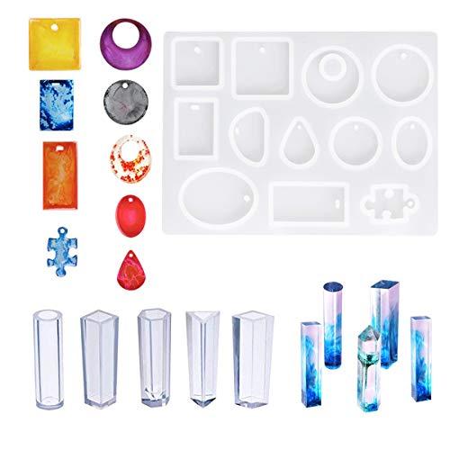 Woohome stampo silicone, 17 forma 6 pz stampo in silicone muffa di pendente ciondoli sfera resina strumenti per fai da te gioielli