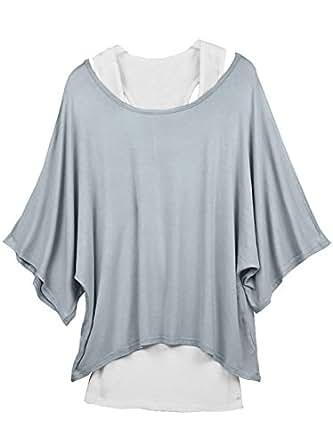 DJT Femme 2 en 1 Tops Débardeur Basique + T-Shirt Pull en Jersey Gris- Blanc Taille M EU 36-38