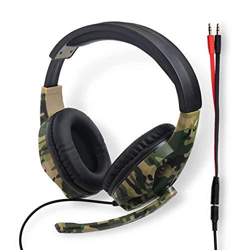 OOOUSE PS4 Gaming-Headset mit Mikrofon, Geräuschunterdrückung, Stereo-Camouflage-Kopfhörer, weiches PU-Ohrmuff-Headset mit Lautstärkeregler, 3,5 mm für PS4/PS3/ONE/360/Schalter/PC