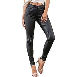 Simplee Apparel Las mujeres delgadas fajas Slim talle alto lapiz stretchy leggings pantalones de cuero negro