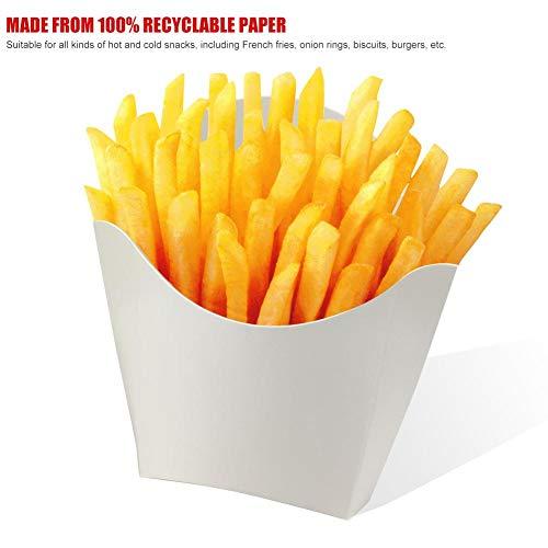 Greatideal Ingeniously Pommes Frites Verpackungskarton 100 Weiße Pommes Frites-Einwegkartons Gebratene Hähnchenburger Verpackungspapierschachteln Ölbeständige Verpackungskartons Favorable