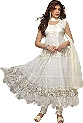Maxthon Fashion Women's Brasso Dress Material (Max_salwarsuits_dresses_2102_Free Size_White)