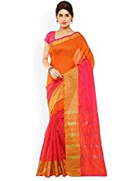 Kiranz Web Store Women`s Cotton Designer Saree With Blouse Piece.(orange & Pink Color)