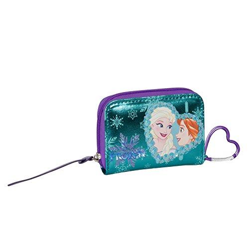 Disney Frozen Magic Heart - Portefeuille pour Enfants - avec Fermeture à glissière e Crochet - Couleur Bleu