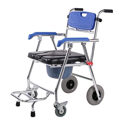 Medizinischer Transport WC Rollstuhl - Toilettenstuhl, 4 in 1 faltbar - tragbar, schwere Aluminiumlegierung eingesetzt Werden kann Pedal, Multifunktions-Duschstuhl (4 Räder) entfernt