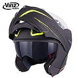 Vinz Klapphelm mit Sonnenblende PINLOCK vorbereitet | Motorrad Helm Integralhelm | Motorradhelm | In Gr. XS-XL (XL (61-62 cm), Matt Schwarz/Fluor Gelb)