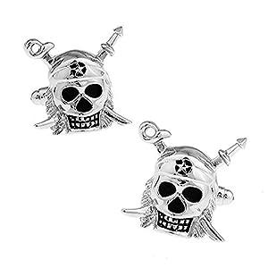Ashton and Finch Skull und Schwerter Manschettenknöpfe. Neuheit, Pirat, Halloween, Party