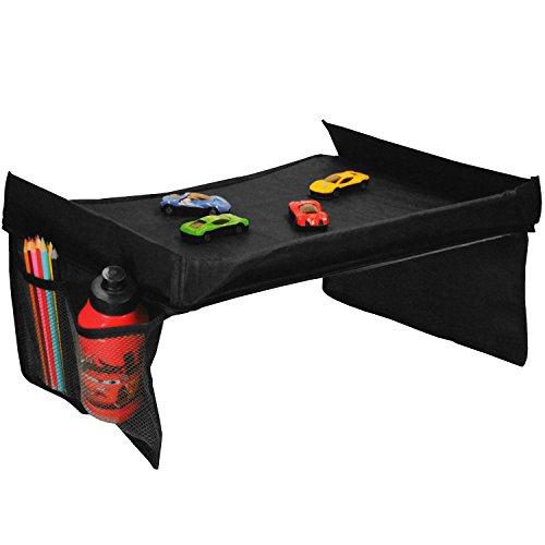 Multistore 2002 Reisetablett 40x35cm für Spiele und Snacks inkl. Seitentaschen, Schwarz, Mehrzwecktisch Reisetisch Spieltisch Zubehör für Kindersitz Autositz