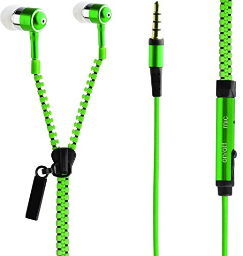 PHILNA12Fashion creative in-ear zip cerniera stile cuffie (verde)