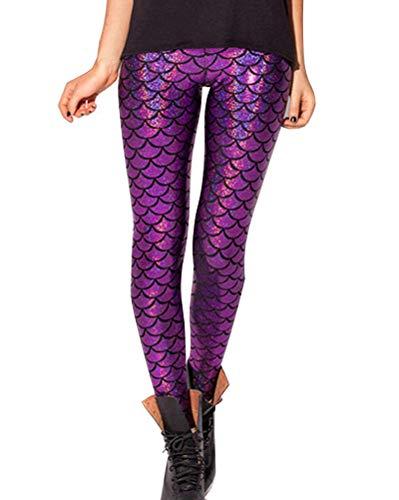 Minetom Damen Fischschuppe Glanz Leggings Fisch Schuppen Scale Glänzend Strumpfhose Hüfthose Hose Karneval Kostüm Mädchen Elastisch Skinny Pants Violett ()