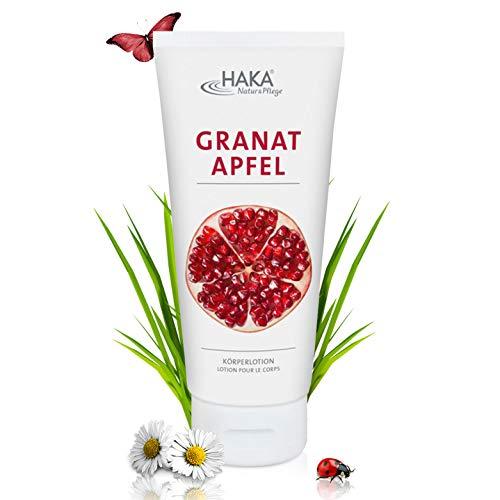 HAKA Bodylotion Granatapfel I 200 ml I Exotische Körperlotion mit Sheabutter I Schnelleinziehende Feuchtigkeitscreme I Hautfreundliche Körperlotion