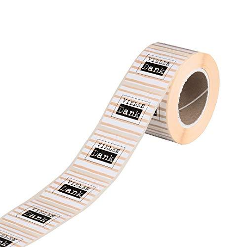 500 Sticker »Vielen Dank«, 35 x 35 mm quadratisch, Kraftpapier, Vintage Papier-Aufkleber, Klebeetiketten - Rolle im Spender