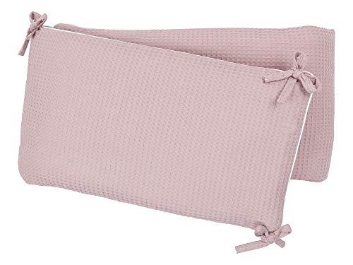 KraftKids Nestchen Waffel Piqué rosa, Bett-Umrandung für Baby-Bett 140 x 70 cm, Baby-Nest mit separatem Außenbezug (Baby-rosa Laufstall)
