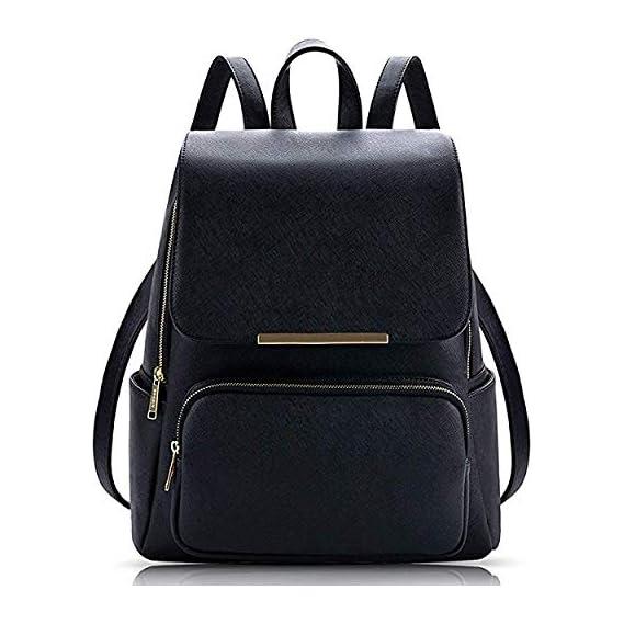 Vintage Stylish Ladies Backpack Handbag Shoulder Bag College Bag (BLACK)