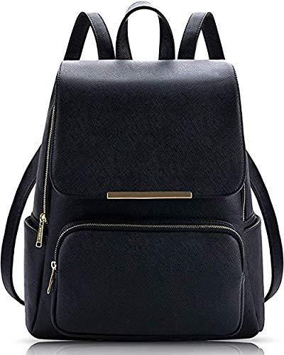 Vintage Girl's Synthetic Backpack Shoulder Bag (Black)