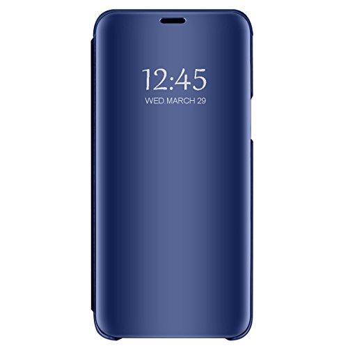 Preisvergleich Produktbild Huawei P8 Lite P9 P9 Lite Spiegel Schutzhülle Flip Handy Case Tasche mit Standfunktion Business Serie Hart Case Cover für Huawei P9/Huawei P9 Lite/Huawei P8 Lite (Blau, Huawei P9)