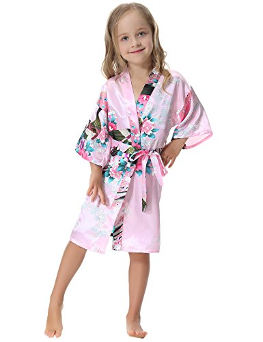 Aibrou Girls' Satin Kimono Robe Peacock Bathrobe Nightgown For Spa Party Wedding Birthday
