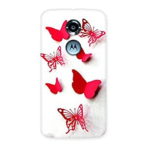 NEO WORLD Premium Red Butterflies Back Case Cover for Moto X 2nd Gen
