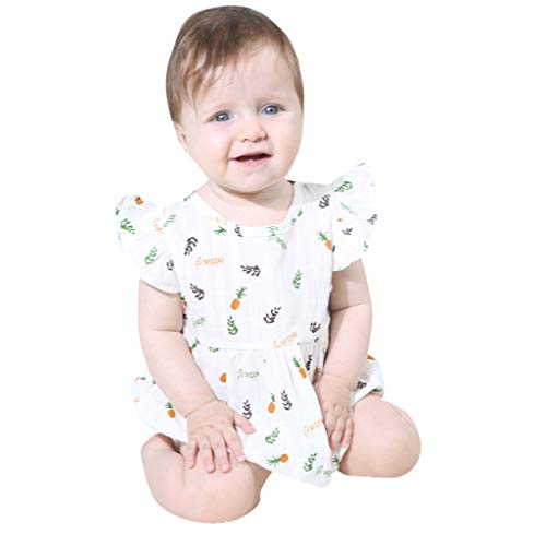 Knowin-baby body Sommer BabyJungen Mädchen Ananas Druck Spielanzug Bodysuit Overall Kleidung Baby fliegen Ärmel Brief Ananas drucken siamesische Kletteranzug Tasche Furz Kleidung