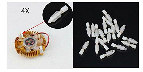 tecnostore 4x Tornillos de plástico con resorte para ventiladores Esparcidores tarjetas PC VGA pies Case