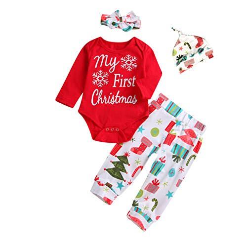 Luckylife Baby Bekleidungsets Romper Neugeboren Strampler+Hose Sets My First Christmas Bedruckt Lange Ärmel Kleine Mädchen Weihnachten Casual Freizeit (Weihnachtsbaum, 0-6 Monate) (6 1 2 Weihnachtsbaum)