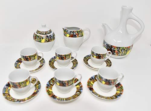 Äthiopische/eritreischer Kaffeetassen mit rékébot, SABA Edition. 12Stück. Lieferung mit 6Tassen, 6Untertasse und 1Zuckerdose. (sábá)