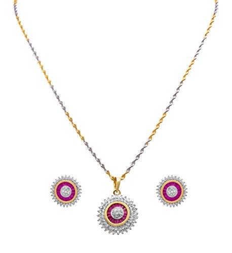dde14f684b JFL - Traditional Ethnic One Gram Gold Plated White Dimond & Pink Designer  Pendant Set With