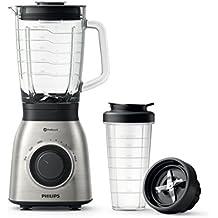Philips HR3556/00 - Batidora de vaso, jarra de cristal de 2 L + Vaso On the GO, ProBlend 6, 700 W, acero inoxidable