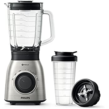 Philips HR3556/00 Standmixer (900 Watt, ProBlend 6 Technologie, 2 Liter Glasbehälter, Spülmaschinenfest, edelstahl)